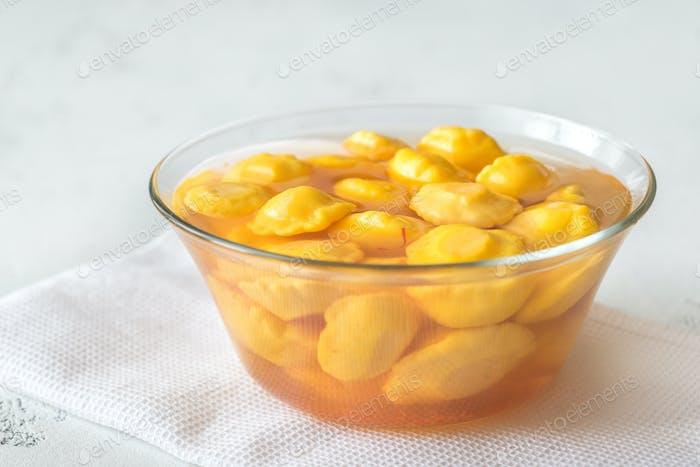 Bowl of pattypan squash