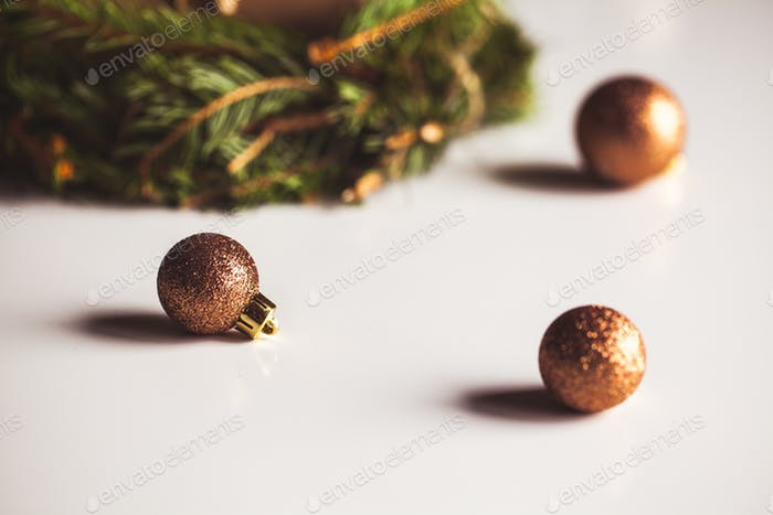 Christmas decorations for mood, toys, Christmas tree twig, lights. New Year