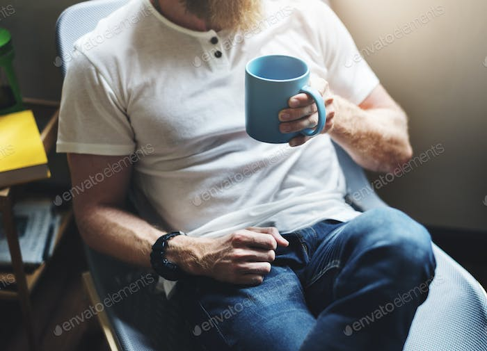 Man Drinking Coffee Relax Lifestyle Concept