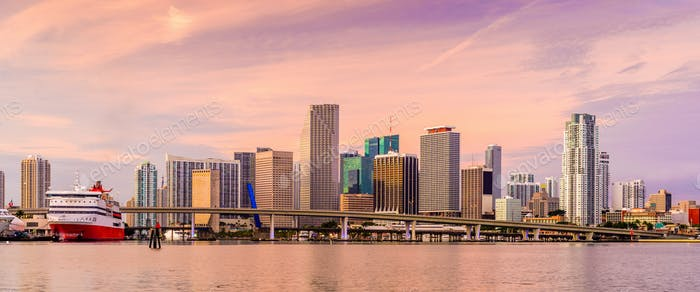 Miami, Florida, USA Bay Skyline