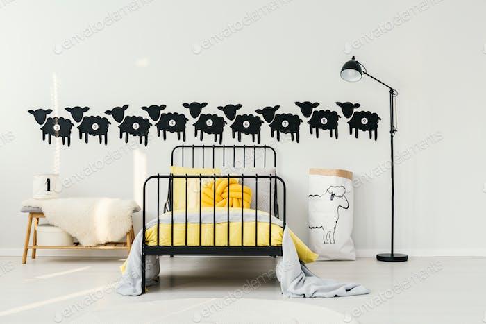 Yellow kid's bedroom interior