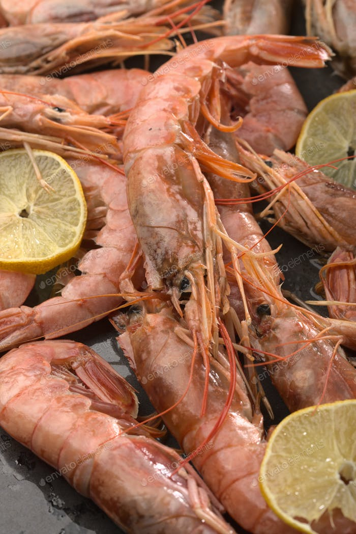 Baked shrimps with sliced pieces of lemon. Close up view.