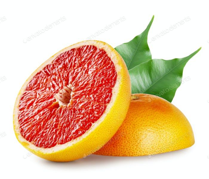 Schneiden Sie eine reife Grapefruit mit Blättern