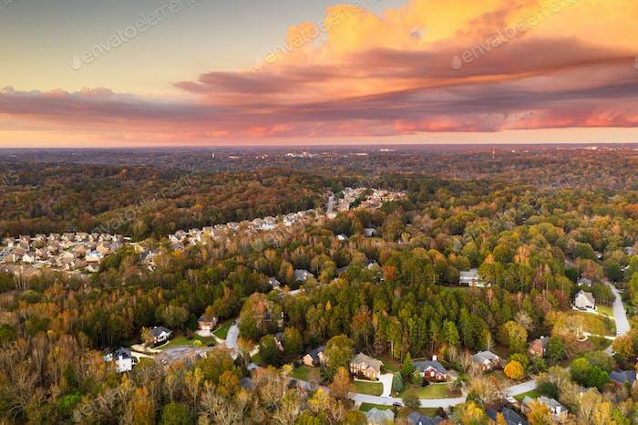 Neighborhoods in Autumn at Dusk