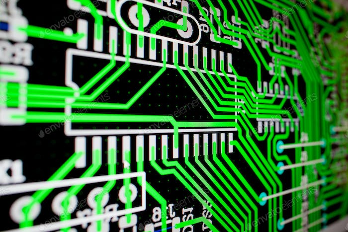 PCB electric circuit on the PC screen