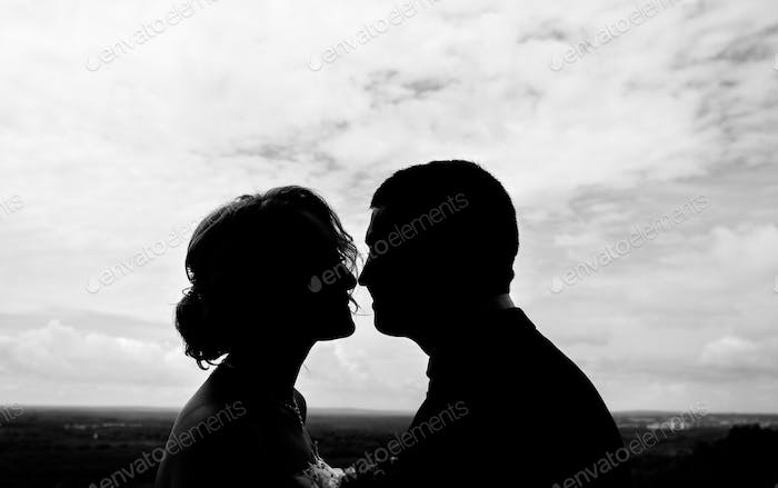 Silhouette couple kissing outdoors