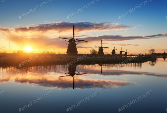 Rustic landscape with beautiful traditional dutch windmills
