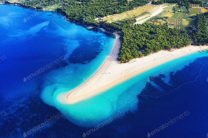 Zlatni rat beach, Hvar island, Croatia. Aerial landscape at the summer time