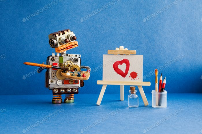 Robot artist with brush in hand looks at the red heart and a blot painted poster