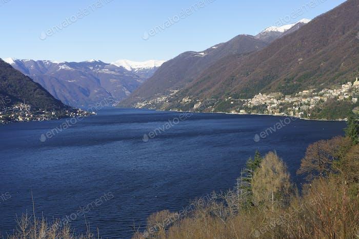 Winter landscape along the Como lake near Bellagio