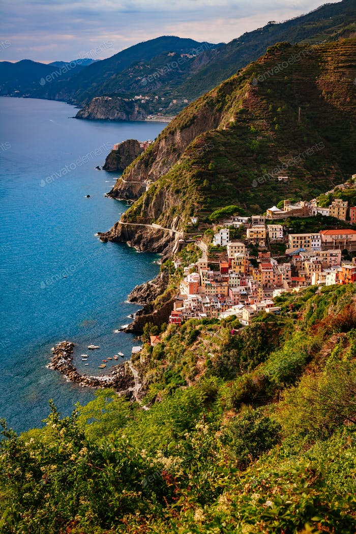 View of the city Manarola. Cinque Terre National Park, Liguria Italy.