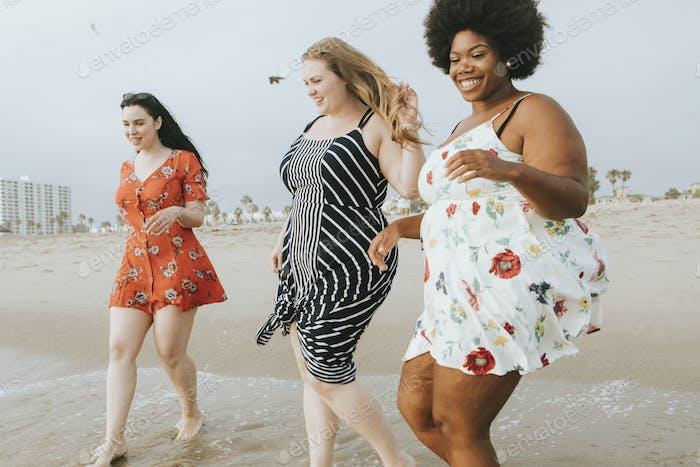 Curvy women at the beach