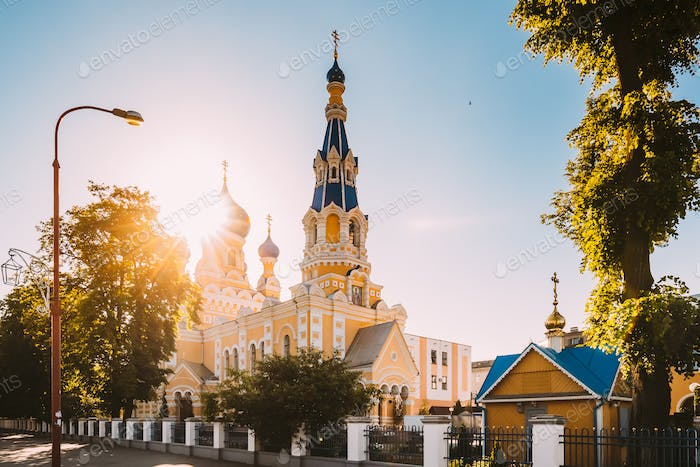Brest, Belarus. St. Nicholas Cathedral In Sunny Summer Day.  Chu