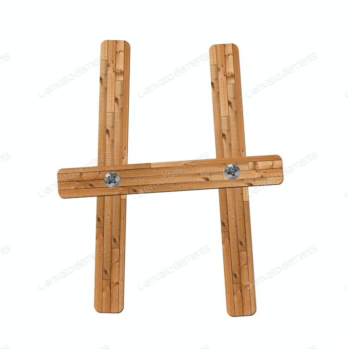 wooden alphabet - letter H on white background