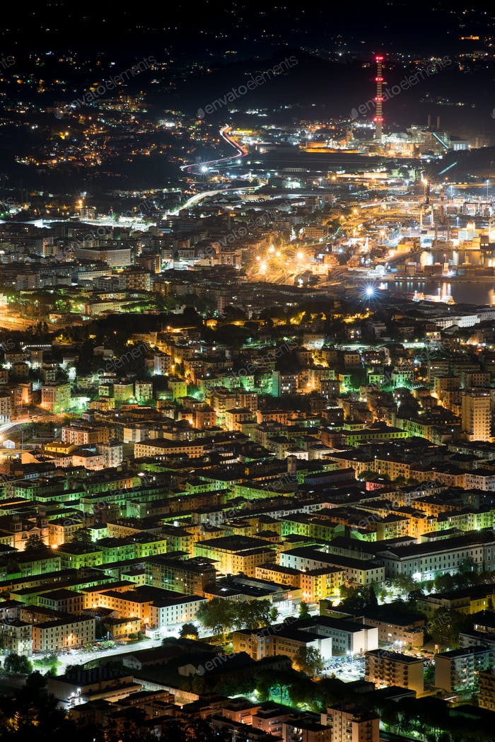 Rooftop view of La Spezia, Italy at night