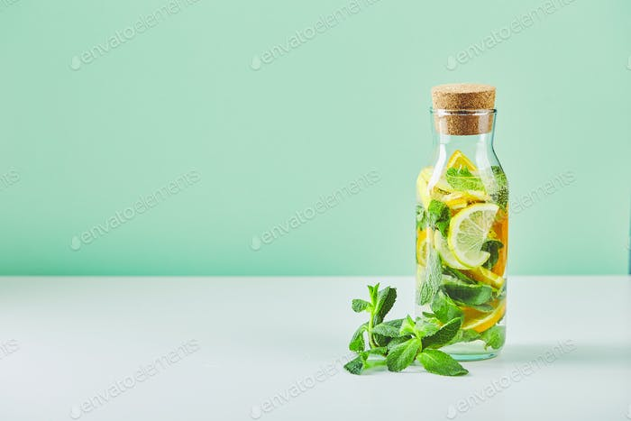 Fresh cool lemon-mint water, cocktail, detox drink.