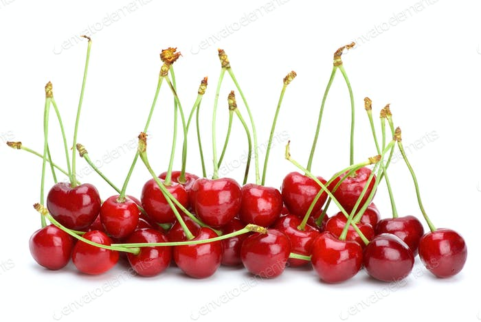 Some red cherries with stalks