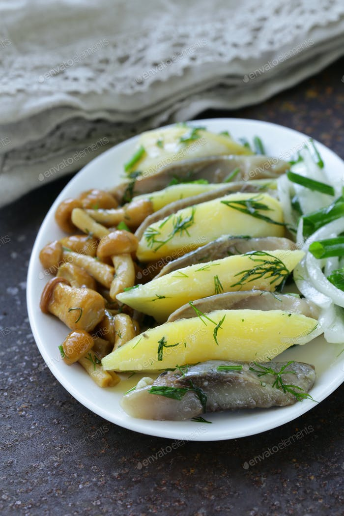 Appetizer Of Herring, Boiled Potato