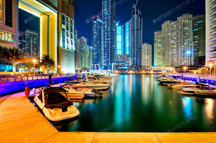 DUBAI, UAE - MARCH 22, 2014: Night dubai marina skyline, Dubai, United Arab Emirates