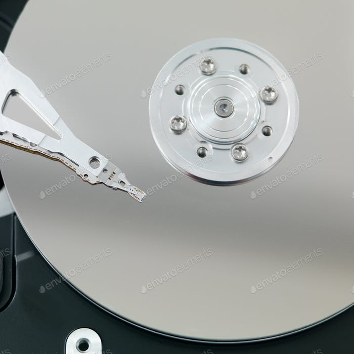 macro of an open hard disk