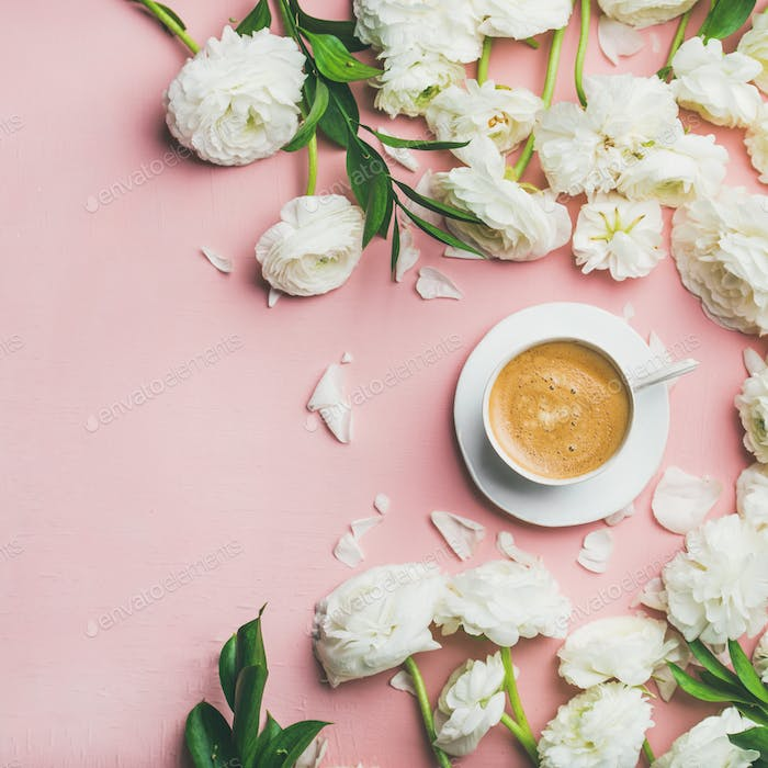 Flat-lay of cup of coffee and ranunculus flowers, square crop