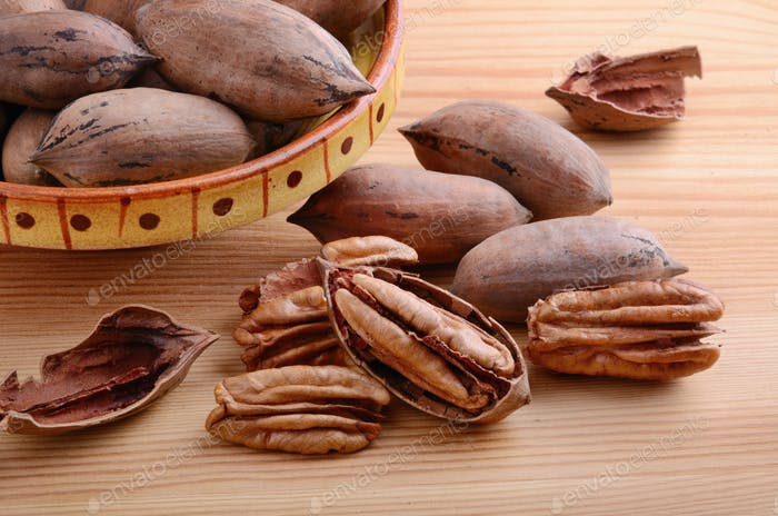 Pecan nuts closeup