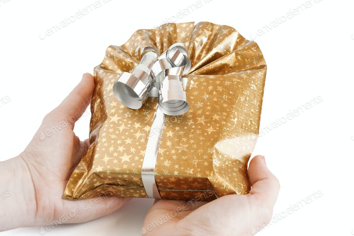 gift box in her hands
