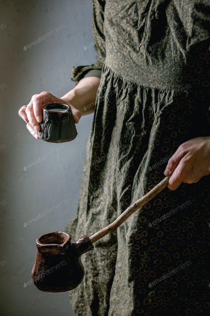 Craft ceramic coffee pot