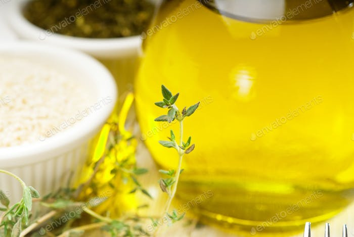 extra virgin olive oil and herbs