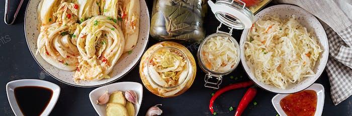 Fermented food. Vegetarian food concept. Cabbage kimchi, tomatoe