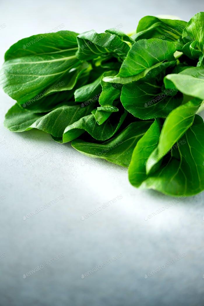 Green organic bok choy chinese cabbage on grey concrete background. Copy space, top view, flat lay