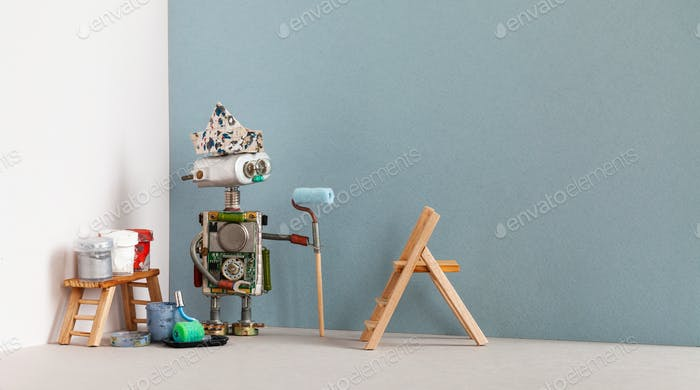 Decorator robot with paint roller and painter tools. Wooden ladder, paint buckets. Copy space