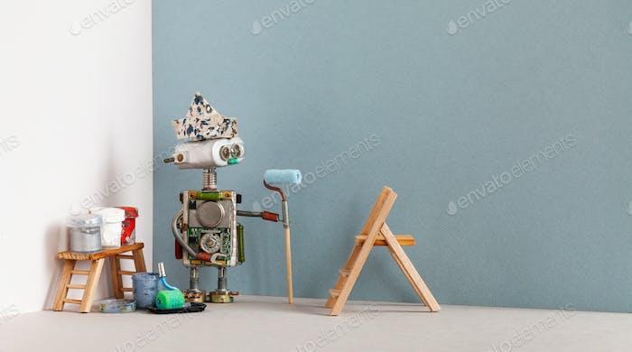 Робот декоратора с валиком для краски и инструментами для рисования. Деревянная лестница, краски ведра. Копировать пространство