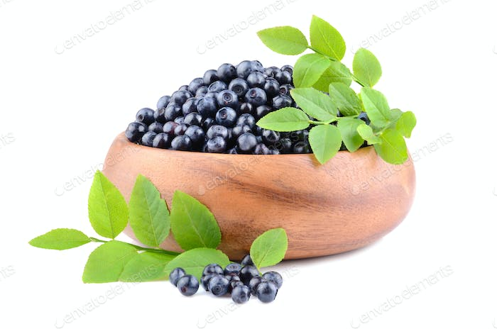 Plate with bilberries
