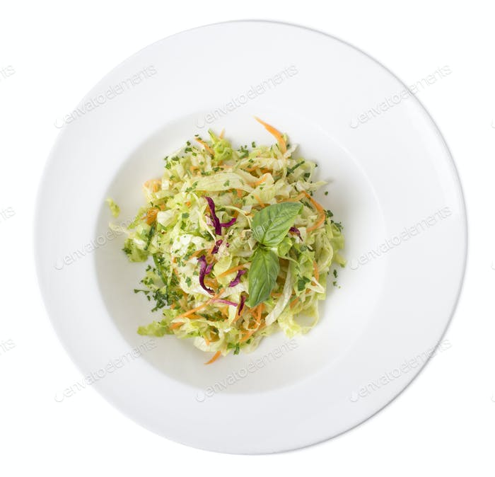 Fresh cabbage and carrot salad.
