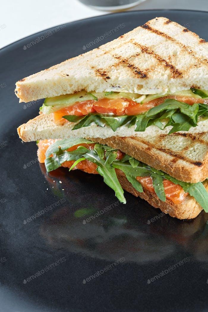 Makro-Sandwich mit Lachs