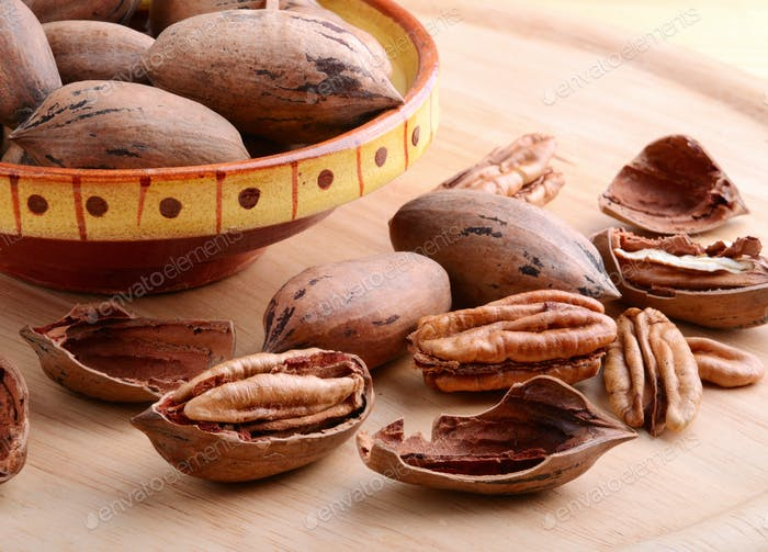Pecan nuts closeup