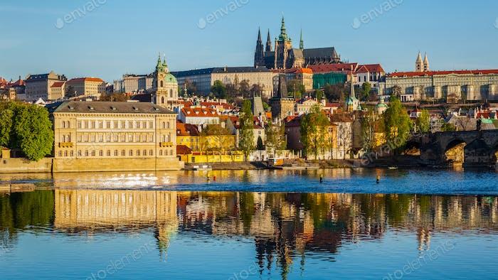 View of Mala Strana and  Prague castle over Vltava rive