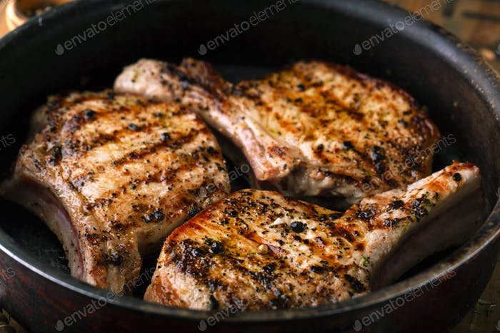 Grilled meat in a pan
