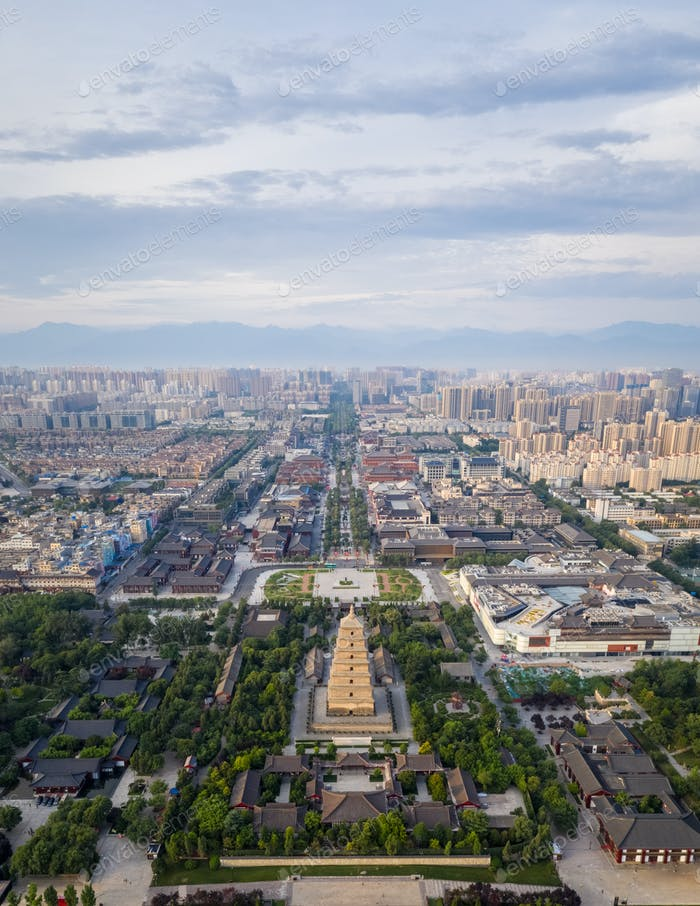 aerial view of xian wild goose pagoda