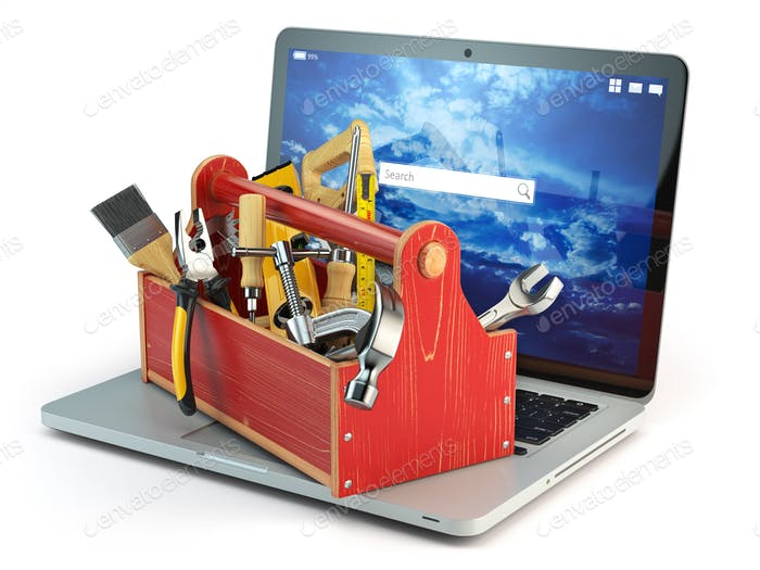 Online support. Laptop and toolbox with tool  isolated on white