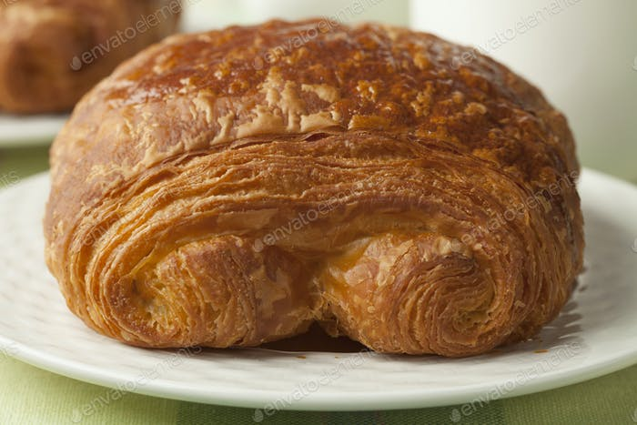 Chocolate croissant close up