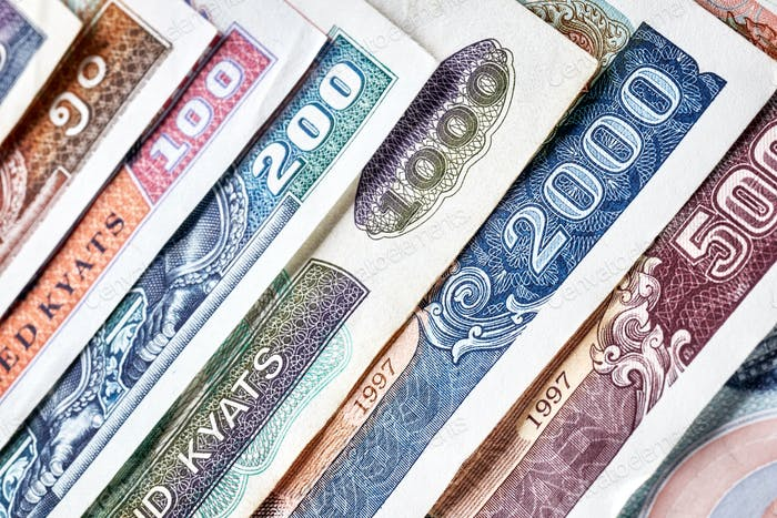 Close up picture of Lao kip banknotes
