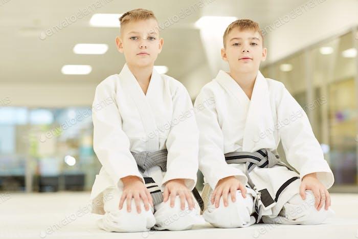 Little athletes doing karate