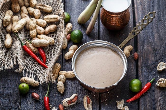 Preparation of malay peanut sauce, close view.