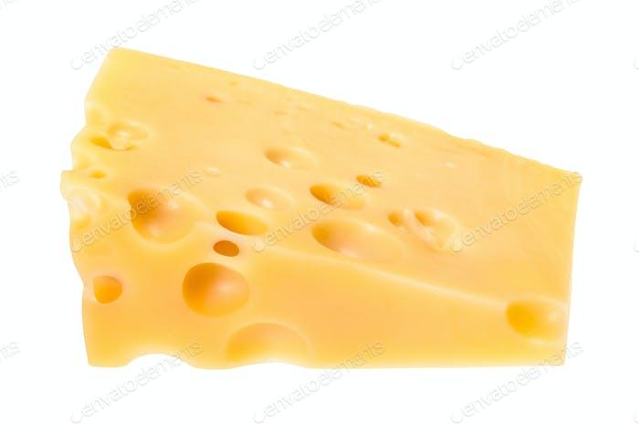 triangular piece of yellow swiss cheese isolated