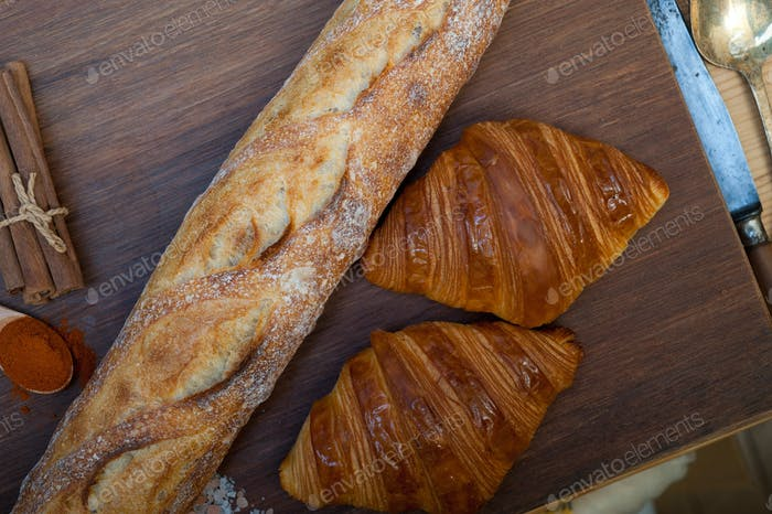 French fresh croissants and artisan baguette tradition