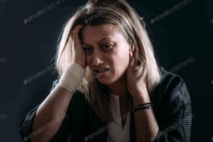 PTSD - Post Traumatic Stress Disorder, woman with mental health problems.