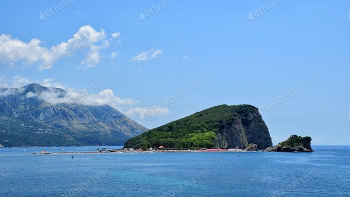 Panoramic view on island of St. Nicholas near Budva, Montenegro