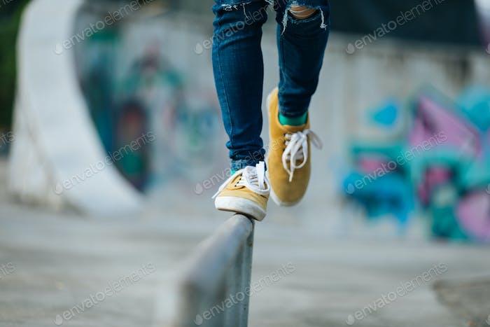 Walking on steel pipe